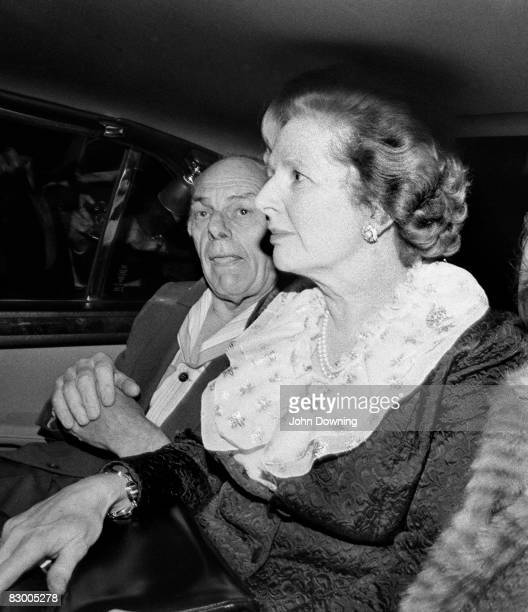 British Prime Minister Margaret Thatcher and her husband Denis leave the Grand Hotel in Brighton after a bomb attack by the IRA 12th October 1984...