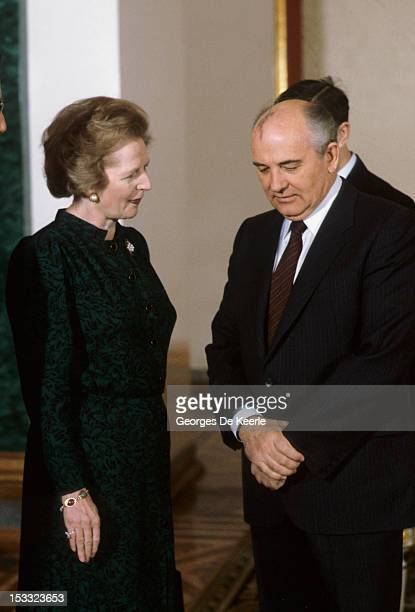 British Prime Minister Margaret Thatcher and Soviet leader Mikhail Gorbachev during a visit to Moscow March 1987
