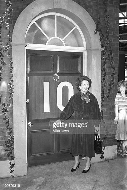 British Prime Minister Margaret Thatcher appearing on the children's Saturday morning television show 'Number 73' on January 06 1984 The no 73 door...