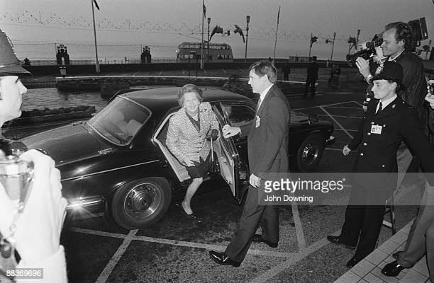 British prime minister Margaret Thatcher arrives at the Conservative Party Conference in Blackpool October 1987