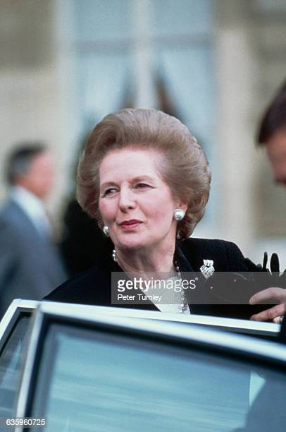 British Prime Minister Margaret Thatcher at a conference of the Council for Security and Cooperation in Europe