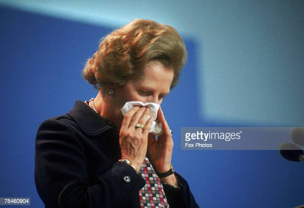 British Prime Minister Margaret Thatcher at the Conservative Party Conference in Brighton on her 59th birthday the day after the Provisional IRA...
