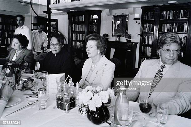 British Prime Minister Margaret Thatcher attending a dinner with restaurateur David Tang and Duty Free Shops founder Robert Miller in Hong Kong