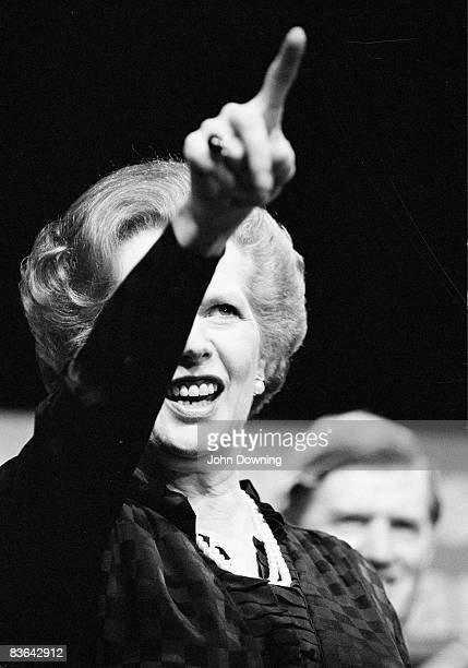British prime minister Margaret Thatcher circa 1985 Behind her is Conservative politician Cecil Parkinson
