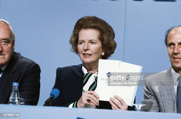British Prime Minister Margaret Thatcher holds a press conference during the Electoral Campaign Opening in London 19th May 1987 On either side of her...