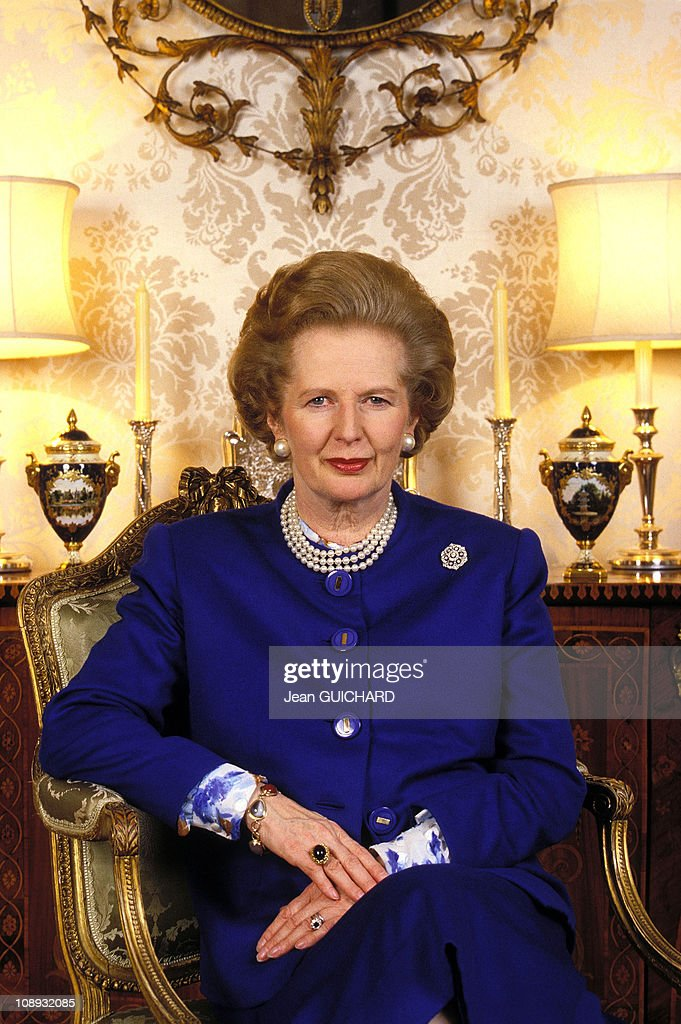 British Prime Minister <a gi-track='captionPersonalityLinkClicked' href=/galleries/search?phrase=Margaret+Thatcher&family=editorial&specificpeople=159677 ng-click='$event.stopPropagation()'>Margaret Thatcher</a> interviewed by French weekly news magazine 'L'Express' on January 22, 1988 in London, England.
