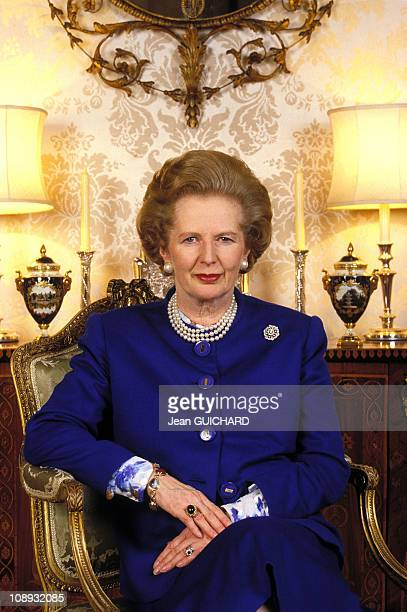 British Prime Minister Margaret Thatcher interviewed by French weekly news magazine 'L'Express' on January 22 1988 in London England