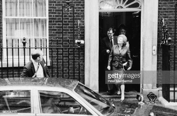 British Prime Minister Margaret Thatcher leaves 10 Downing Street 13th February 1990