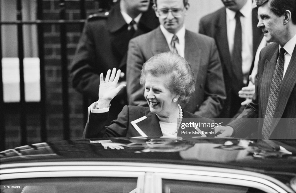 British Prime Minister <a gi-track='captionPersonalityLinkClicked' href=/galleries/search?phrase=Margaret+Thatcher&family=editorial&specificpeople=159677 ng-click='$event.stopPropagation()'>Margaret Thatcher</a> leaves 10 Downing Street, London, 27th November 1990. Having officially resigned from office on 22nd November, Thatcher would remain at 10 Downing Street for another two days.