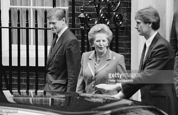 British Prime Minister Margaret Thatcher leaves 10 Downing Street London having officially resigned from office 22nd November 1990