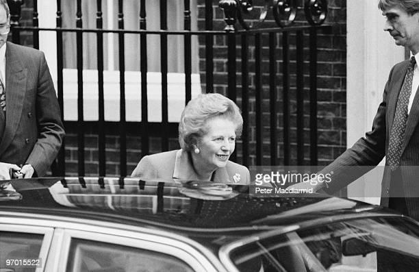 British Prime Minister Margaret Thatcher leaves 10 Downing Street London having officially resigned from office 22nd November 1990