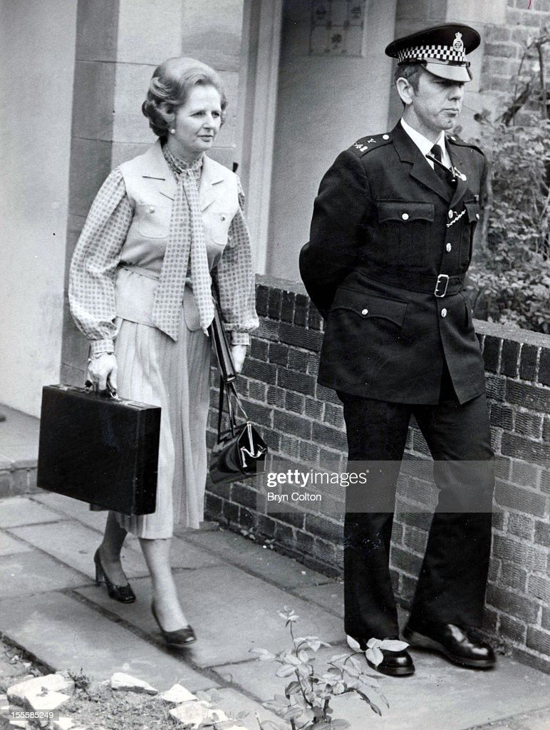 British Prime Minister Margaret Thatcher leaves her Flood Street home and heads for 10 Downing Street on her first day in office after the UK General...