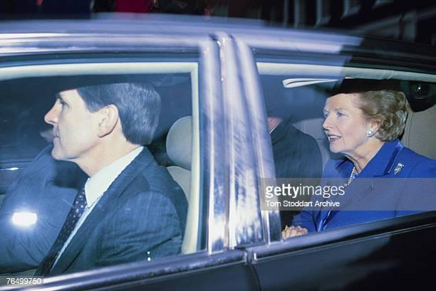 British Prime Minister Margaret Thatcher leaves Number 10 Downing Street on the evening of her resignation 22nd November 1990