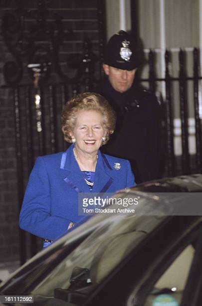 British Prime Minister Margaret Thatcher leaves Number 10 Downing Street to offer her resignation to the Queen 22nd November 1990