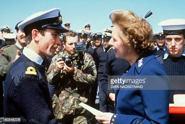 British Prime Minister Margaret Thatcher meets personnel aboard the HMS Antrim 08 January 1983 during her fiveday visit to the Falkand Islands