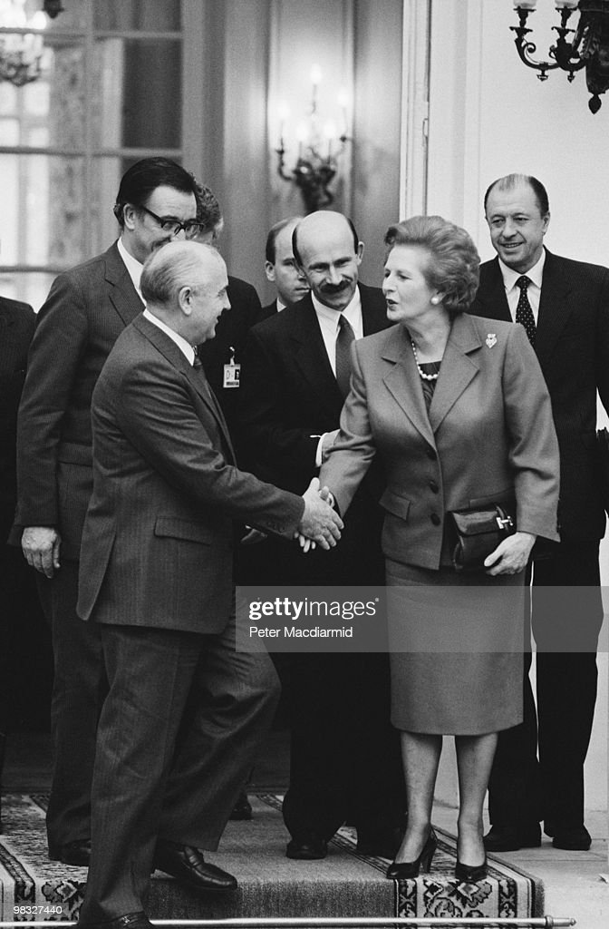 British Prime Minister Margaret Thatcher meets Russian President Mikhail Gorbachev at the British Embassy in Paris, 20th November 1990.