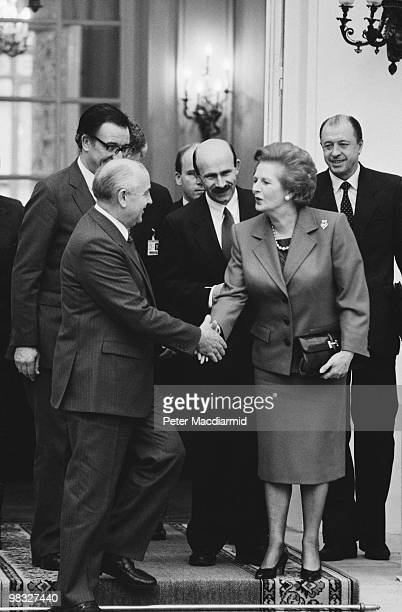 British Prime Minister Margaret Thatcher meets Russian President Mikhail Gorbachev at the British Embassy in Paris 20th November 1990