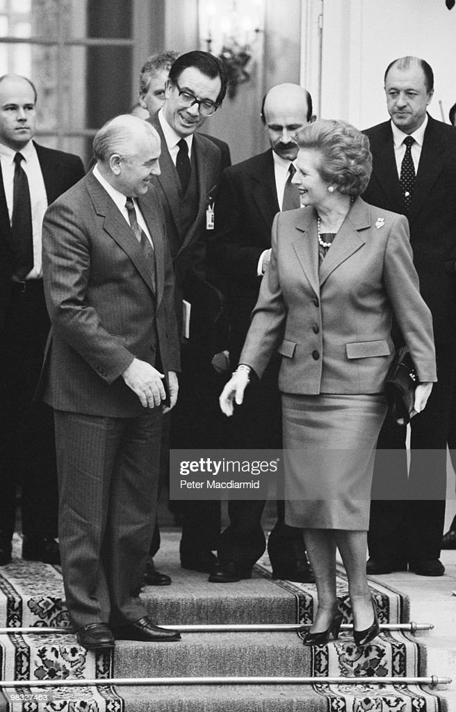 British Prime Minister <a gi-track='captionPersonalityLinkClicked' href=/galleries/search?phrase=Margaret+Thatcher&family=editorial&specificpeople=159677 ng-click='$event.stopPropagation()'>Margaret Thatcher</a> meets Russian President <a gi-track='captionPersonalityLinkClicked' href=/galleries/search?phrase=Mikhail+Gorbachev&family=editorial&specificpeople=93773 ng-click='$event.stopPropagation()'>Mikhail Gorbachev</a> at the British Embassy in Paris, 20th November 1990.