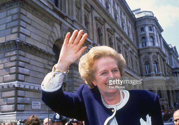 British Prime Minister Margaret Thatcher outside 10 Downing Street London on general election day 11th June 1987 The vote resulted in the third...
