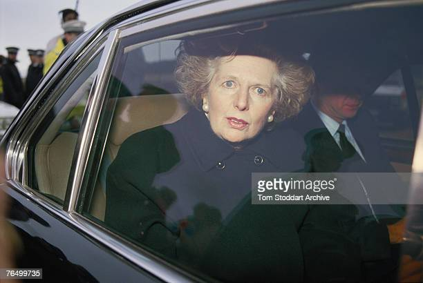 British Prime Minister Margaret Thatcher visits the town of Lockerbie shortly after the bombing of Pan Am Flight 103 December 1988