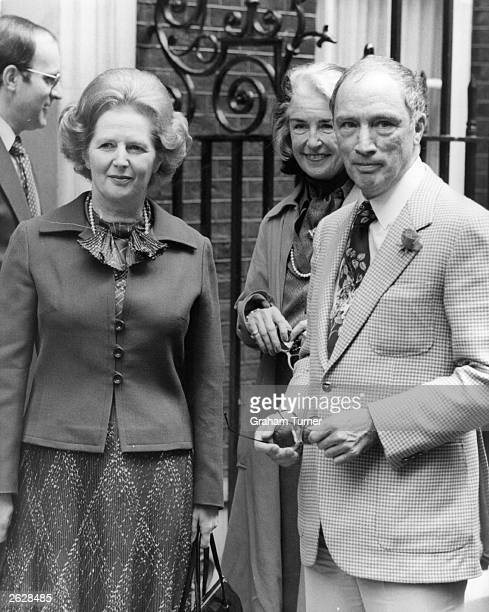 British prime minister Margaret Thatcher with Canadian prime minister Pierre Trudeau outside No 10 Downing St