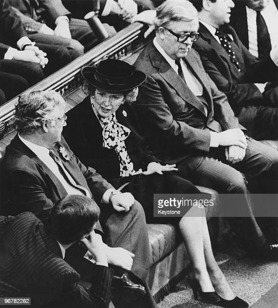 British Prime Minister Margaret Thatcher with Foreign Secretary Geoffrey Howe in the House of Commons during the State Opening of Parliament 6th...
