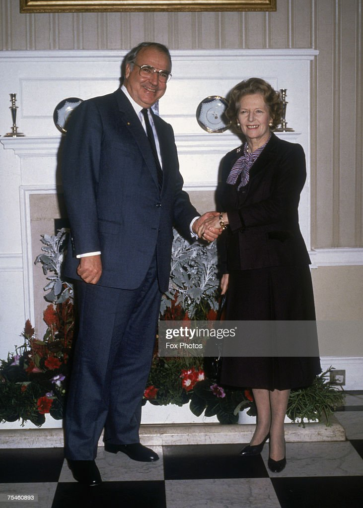 British Prime Minister Margaret Thatcher with German Chancellor <a gi-track='captionPersonalityLinkClicked' href=/galleries/search?phrase=Helmut+Kohl&family=editorial&specificpeople=202518 ng-click='$event.stopPropagation()'>Helmut Kohl</a> at 10 Downing Street, London, November 1985.