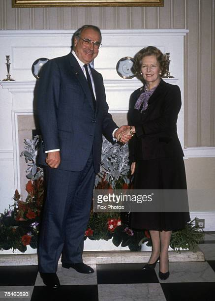 British Prime Minister Margaret Thatcher with German Chancellor Helmut Kohl at 10 Downing Street London November 1985