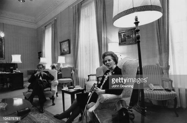 British Prime Minister Margaret Thatcher with her Chief Press Secretary Bernard Ingham at Number 10 Downing Street London April 1988