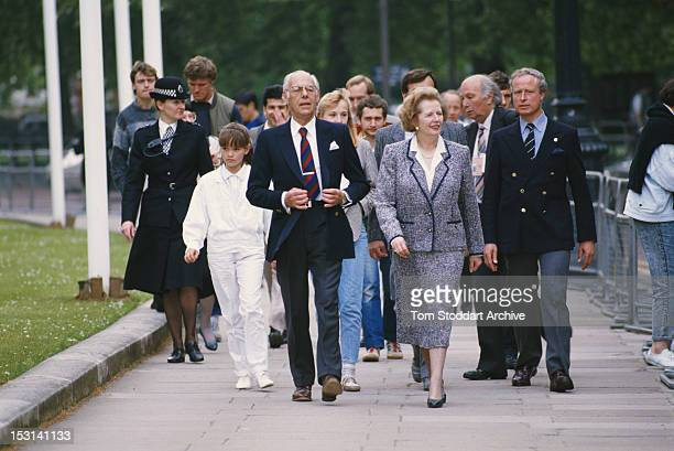 British Prime Minister Margaret Thatcher with her husband Denis in London during the general election campaign 31st May 1987