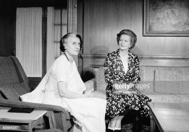 British prime minister Margaret Thatcher with her Indian counterpart Indira Gandhi in the latter's office in Delhi April 1981