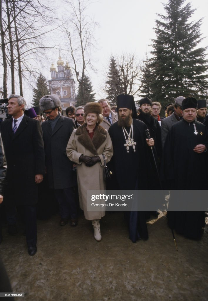 British Prime Minister <a gi-track='captionPersonalityLinkClicked' href=/galleries/search?phrase=Margaret+Thatcher&family=editorial&specificpeople=159677 ng-click='$event.stopPropagation()'>Margaret Thatcher</a> with Russian Orthodox priests during a visit to St. Sergius Monastery in Zagorsk (now Sergiyev Posad), near Moscow, 29th March 1987.