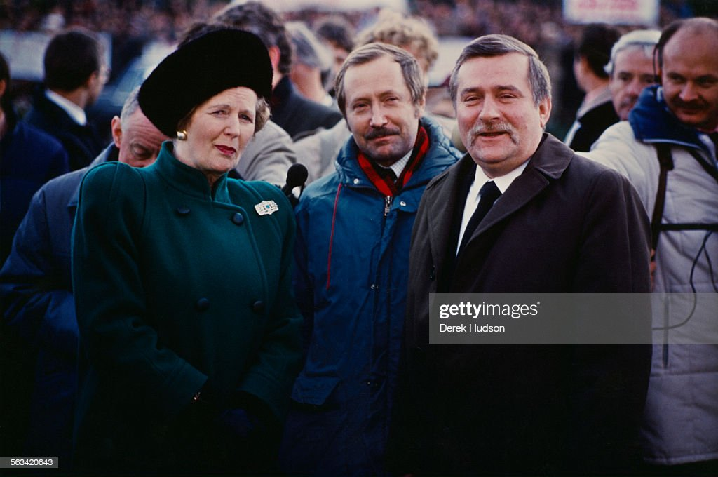 British Prime Minister <a gi-track='captionPersonalityLinkClicked' href=/galleries/search?phrase=Margaret+Thatcher&family=editorial&specificpeople=159677 ng-click='$event.stopPropagation()'>Margaret Thatcher</a> (1925 - 2013) with Solidarnosc chairman <a gi-track='captionPersonalityLinkClicked' href=/galleries/search?phrase=Lech+Walesa&family=editorial&specificpeople=93677 ng-click='$event.stopPropagation()'>Lech Walesa</a> (right) in Gdansk, during a visit to Poland, 3rd/4th November 1988. She is the first British Prime Minister to visit the country in an official capacity.