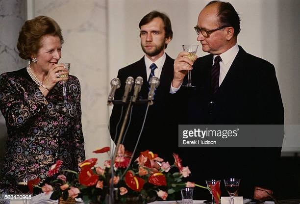 British Prime Minister Margaret Thatcher with Wojciech Jaruzelski First Secretary of the Polish United Workers' Party in Warsaw during a visit to...
