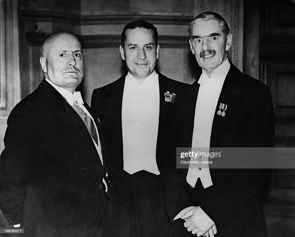 British Prime Minister Neville Chamberlain with Benito Mussolini and Italian Foreign Minister Galeazzo Ciano on September 29, 1938 in Munich, Germany.