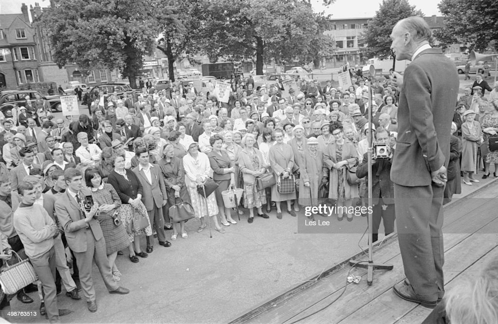 British Prime Minister Sir Alec DouglasHome speaking on stage at Peckham Rye London July 3rd 1964