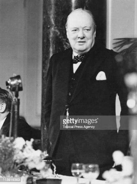 British Prime Minister Sir Winston Churchill gives a speech broadcast to the world at County Hall London 14th July 1941
