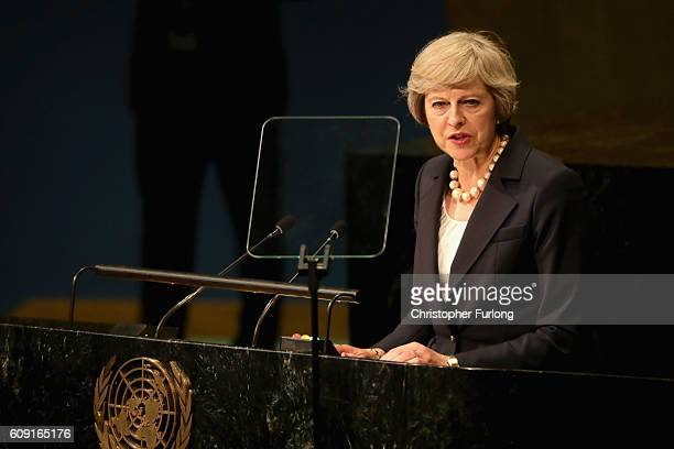 British Prime Minister Theresa May addresses the United Nations General Assembly on September 20 2016 in New York City on September 20 2016 in New...