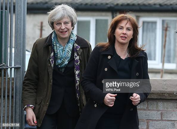British Prime Minister Theresa May and Conservative Party candidate for the upcoming Copeland byelection Trudy Harrison arrive for a visit to Captain...
