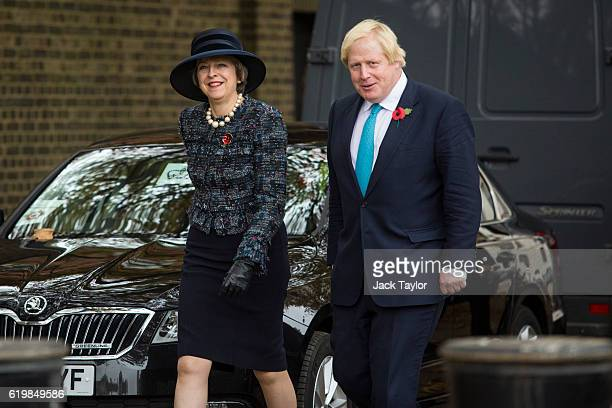British Prime Minister Theresa May and Foreign Secretary Boris Johnson arrive at Horse Guards Parade for the Official Ceremonial Welcome for the...