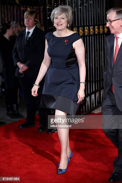 British Prime Minister Theresa May and her husband Philip John May attend the Pride Of Britain Awards at The Grosvenor House Hotel on October 31 2016...