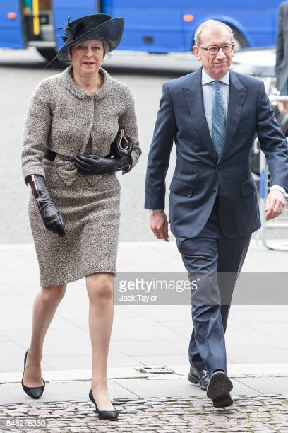British Prime Minister Theresa May and her husband Philip May attend a service to mark the 77th anniversary of the Battle of Britain at Westminster...