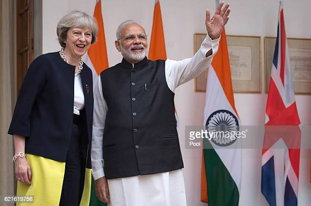 British Prime Minister Theresa May and her Indian counterpart Narendra Modi meet at Hyderabad House the Indian Prime Minister's offices on November 7...