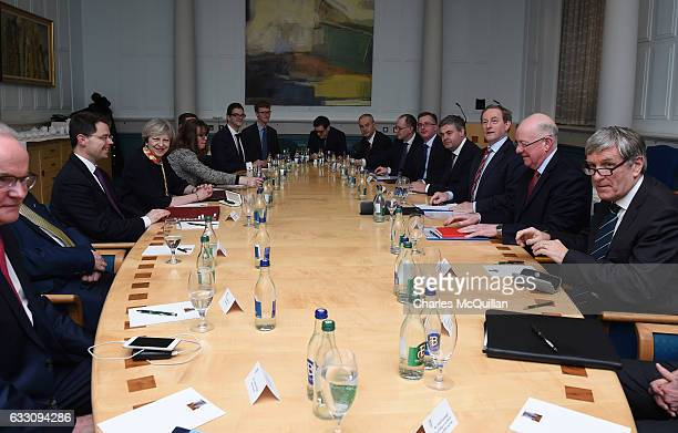 British Prime Minister Theresa May and Irish Taoiseach Enda Kenny hold talks at Government Buildings on January 30 2017 in Dublin Ireland Brexit is...