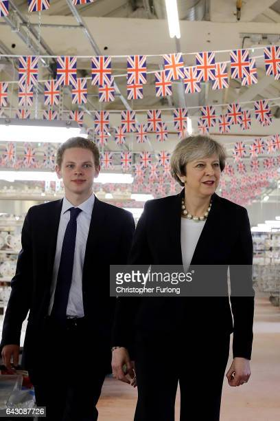 British Prime Minister Theresa May and Stoke Central byelection candidate Jack Brereton tour the Emma Bridgewater pottery factory in Hanley on...