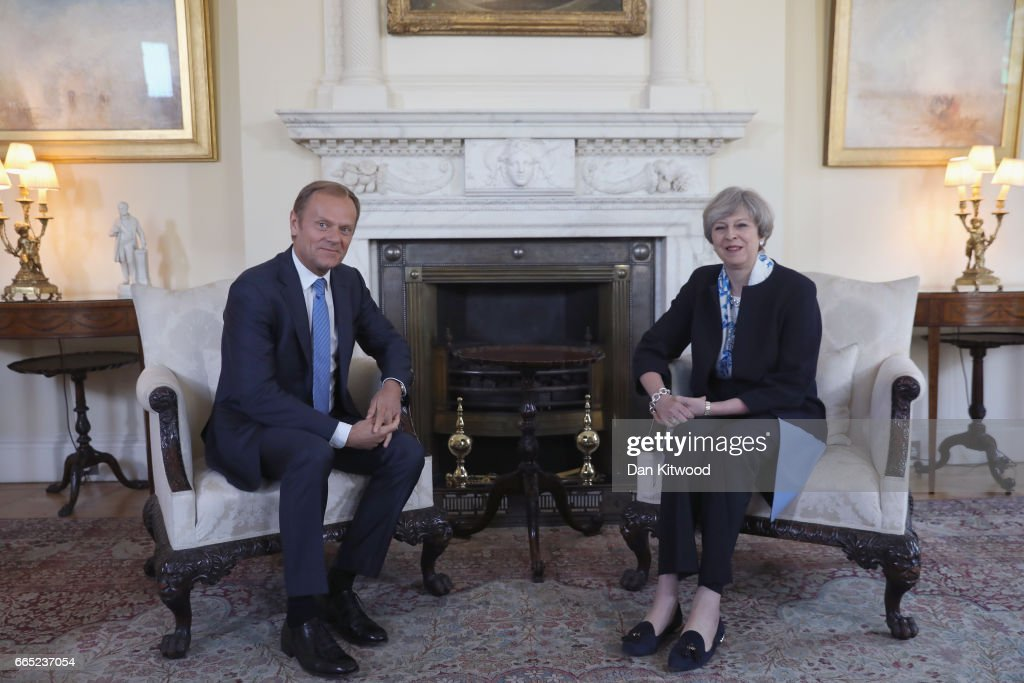 British Prime Minister, Theresa May and The President of the European Council, Donald Tusk, meet inside 10 Downing Street on April 6, 2017 in London, England. Donald Tusk is meeting Theresa May ahead of the EU27 leaders' meeting on Brexit on April 29, 2017 in Brussels.