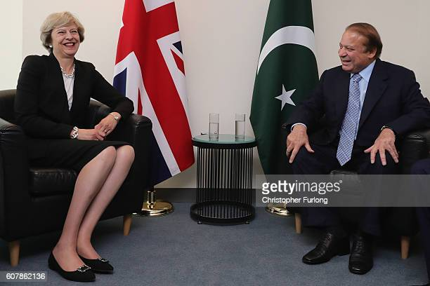 British Prime Minister Theresa May and the Prime Minister of Pakistan Nawaz Sharif talk during a bilateral meeting at the United Nations Buildng on...