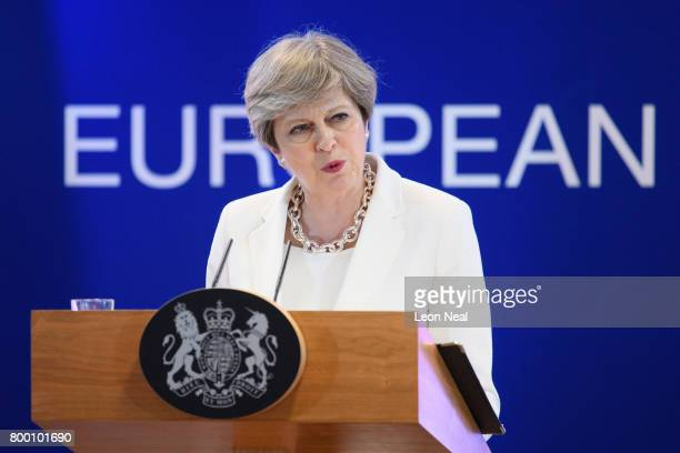 British Prime Minister Theresa May answers questions from journalists during a press conference at the EU Council headquarters at the end of the...