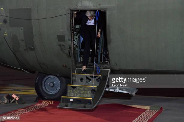 British Prime Minister Theresa May arrives at King Abdul Aziz airport on November 29 2017 in Riyadh Saudi Arabia Theresa May has also made a surprise...