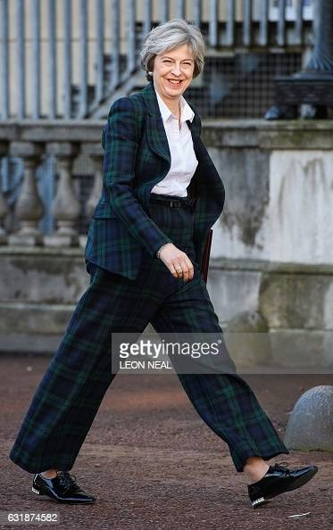 British Prime Minister Theresa May arrives at Lancaster House in London on January 17 where she will make a speech on the government's plans for...